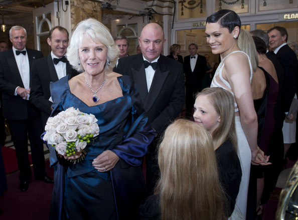 Camilla, Duchess of Cornwall meets singer Jessie J as she attends the Royal Variety Performance at London Palladium on November 25, 2013 in London, England.