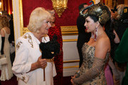 Camilla, Duchess of Cornwall (L) speaks to a guest as she and Prince Charles, Prince of Wales host a reception for the Elephant Family Animal Ball at Clarence House on June 13, 2019 in London, England. Elephant Family is an international NGO dedicated to protecting the Asian elephant from extinction in the wild.