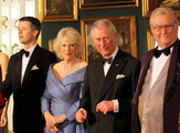Crown Prince Frederik of Denmark, Camilla, Duchess of Cornwall, Prince Charles, Prince of Wales and  Prince Consort Henrik of Denmark take part in a receiving line ahead of an official dinner at the Royal Palace on March 26, 2012 in Copenhagen, Denmark. Prince Charles, Prince of Wales and Camilla, Duchess of Cornwall are on a Diamond Jubilee tour of Scandinavia that takes in Norway, Sweden and Denmark.