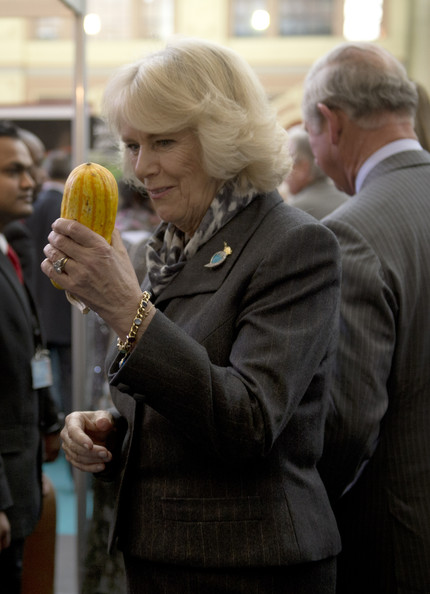 Camilla, Duchess of Cornwall holds a squash during The Edible Garden Show at Alexandra Palace on March 28, 2014 in London, England.