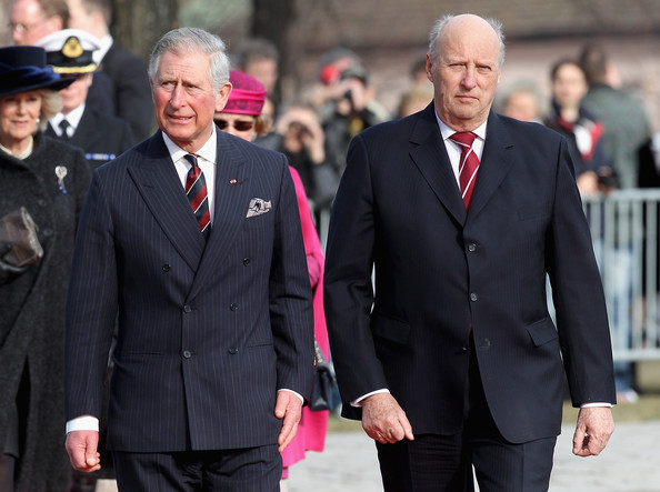 (L-R) Prince Charles, Prince of Wales and King Harald of Norway arrive for a wreath laying ceremony at the National Monument at Akershus Fortress on March 20, 2012 in Oslo, Norway.  Prince Charles, Prince of Wales and Camilla, Duchess of Cornwall are on a Diamond Jubilee tour of Scandinavia that takes in Norway, Sweden and Denmark.