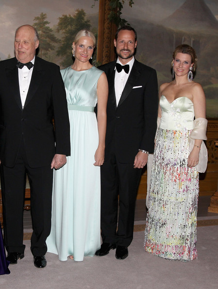 (L-R)  King Harald of Norway, Crown Princess Mette-Marit of Norway,Crown Prince Haakon of Norway and Princess Martha-Louise of Norway attends an official dinner at the Norwegian Royal Palace on March 20, 2012 in Oslo, Norway.  Prince Charles, Prince of Wales and Camilla, Duchess of Cornwall are on a Diamond Jubilee tour of Scandinavia that takes in Norway, Sweden and Denmark.