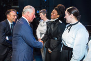 Prince Charles, Prince of Wales meets Beverley Knight and members of the cast of 'Sylvia' onstage at the Old Vic Theatre during a visit to mark the theatre's 200th anniversary on September 5, 2018 in London, England.