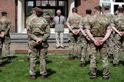 Prince Charles, Prince of Wales addresses soldiers of the Welsh Guards during a visit to Combermere Barracks on May 5, 2021 in Windsor, England.