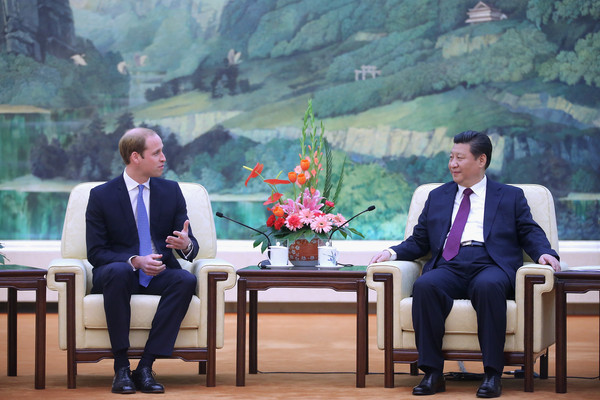 Prince William Prince William, Duke of Cambridge (L) meets Chinese President Xi Jinping (R) at the Great Hall of the People on March 2, 2015 in Beijing, China. The Duke of Cambridge is on a three-day visit to China. He is the first senior British royal to visit China since the Queen and Prince Philip visited in 1986.