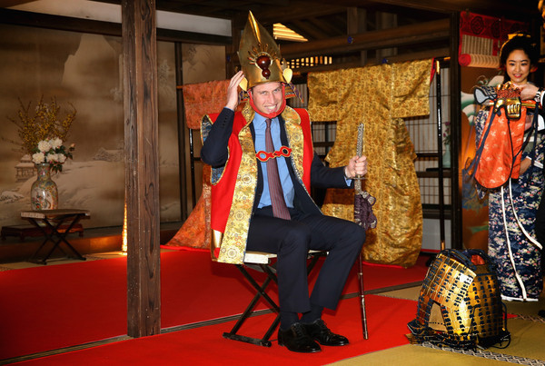Prince William Prince William, Duke of Cambridge wears traditional Japanese King's Costume (Samurai) during a visit to the set of a historical drama at NHK Public Broadcasting Studios during the third day of his visit to Japan on February 28, 2015 in Tokyo, Japan. The Duke of Cambridge is visiting Japan from February 26th to March 1st 2015.