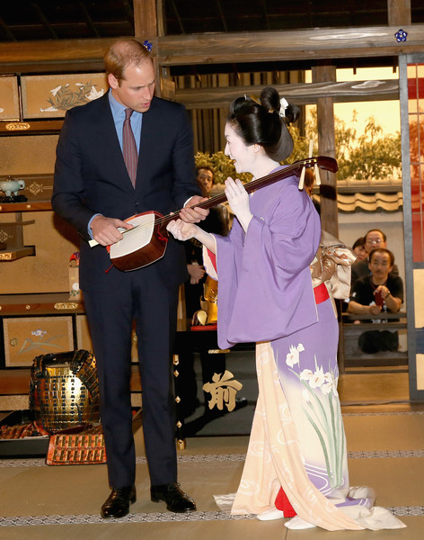 Prince William Prince William, Duke of Cambridge meets an actress during a visit to the set of a historical drama at NHK Public Broadcasting Studios during the third day of his visit to Japan on February 28, 2015 in Tokyo, Japan. The Duke of Cambridge is visiting Japan from February 26th to March 1st 2015.