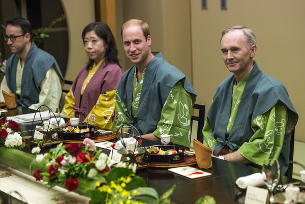 Prince William Prince William, Duke of Cambridge (2R) smiles before he eats dinner at a traditional Japanese Ryokan on February 28, 2015 in Koriyama, Japan. The Duke of Cambridge is visiting Japan from February 26th to March 1st 2015.