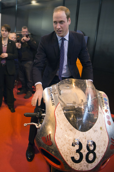 Prince William Prince William, Duke of Cambridge sits on a Norton motorcycle during a visit to Motorcycle Live at the National Exhibition Centre, where he toured the stands and watched a live motorcycle display on November 30, 2013 in Birmingham, United Kingdom.