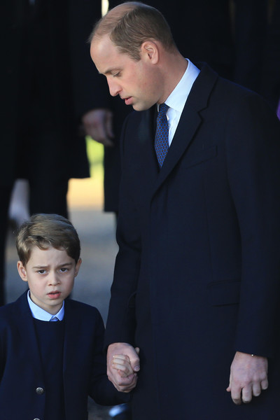 The Royal Family Attend Church On Christmas Day [the royal family attend church on christmas day,suit,formal wear,tuxedo,event,hairstyle,fashion,white-collar worker,premiere,outerwear,gesture,prince william,prince george,service,cambridge,church of st mary magdalene,united kingdom,estate,kings lynn,christmas day church]