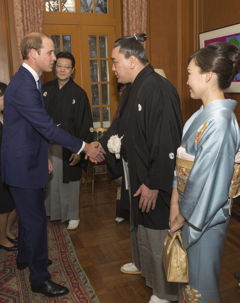 Prince William Newly-crowned sumo grand champion Harumafuji meets Prince William, Duke of Cambridge at a reception at the British Embassy, given by the Ambassador, where he met high profile Japanese figures including politicians, artists, young leaders, sportsmen and other leaders in their field on February 27, 2015 in Tokyo, Japan. The Duke of Cambridge is visiting Japan from February 26th to March 1st 2015.