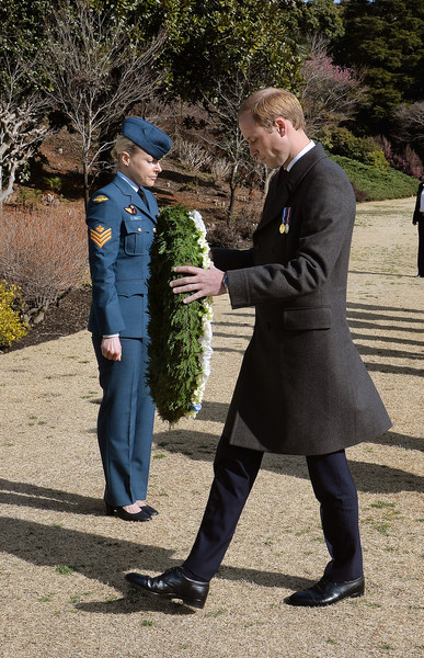 Prince William Prince William, Duke of Cambridge walks forward to lay a wreath at the Hodogaya Commonwealth War Graves Cemetery in Yokohama to lay a Wreath and pay his respects in Yokohama just outside the capital city of Tokyo on February 27, 2015 in Tokyo, Japan. The Duke of Cambridge is visiting Japan from February 26th to March 1st 2015.