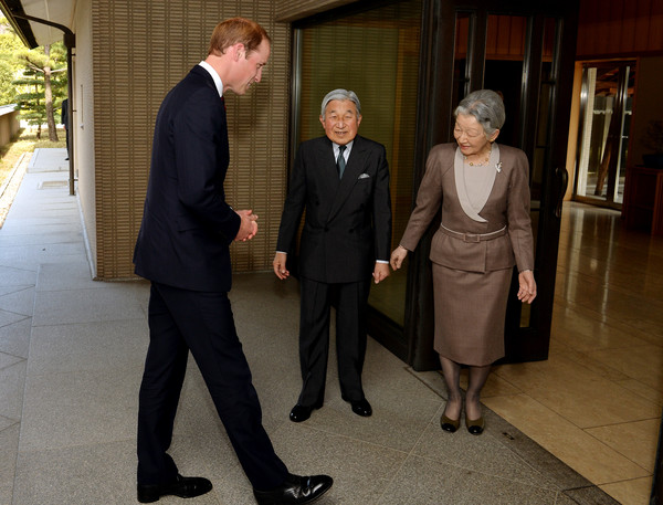 Prince William Prince William, Duke of Cambridge with Emperor Akihito and Empress Michiko, after he arrived for lunch at the couple's residence within the Royal Palace grounds on February 27, 2015 in Tokyo, Japan. The Duke of Cambridge is visiting Japan from February 26th to March 1st 2015.