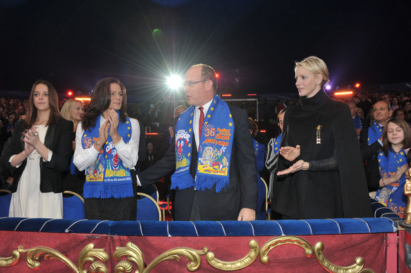 Princess Charlene of Monaco (L-R) Pauline Ducruet, Princess Stephanie of Monaco, Prince Albert II of Monaco and Princess Charlene of Monaco attend the opening ceremony of the Monte-Carlo 36th International Circus Festival on January 19, 2012 in Monte-Carlo, Monaco.