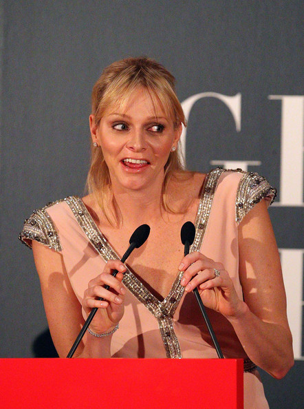 Princess Charlene of Monaco speaks at the opening of the Grace Kelly