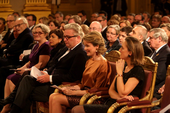Belgian Royals Celebrate Christmas at the Royal Palace [mathilde of belgium celebrate christmas,philippe of belgium,laurent,claire of belgium,queen,audience,people,event,crowd,convention,royal palace,belgium,brussel,christmas]