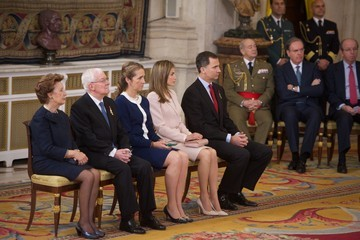 Princess Elena Queen Letizia of Spain Enrique V. Iglesias Honoured in Madrid