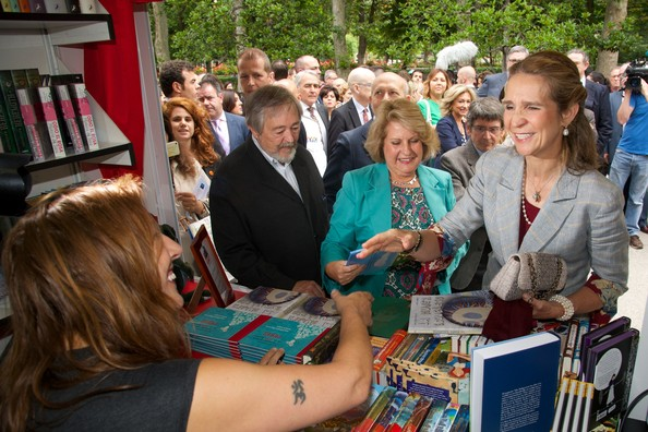 Princess Elena of Spain (R) attends the opening of Madrid Book fair 2014 at the Retiro Park on May 30, 2014 in Madrid, Spain.