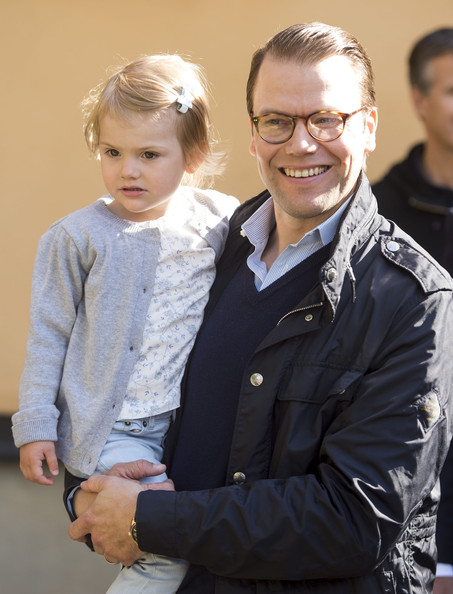 Prince Daniel, Duke of Vastergotland with Princess Estelle on her first day at pre-school on August 25, 2014 in Stockholm, Sweden.