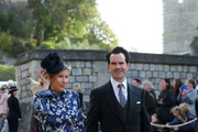 Karoline Copping and Jimmy Carr arrive ahead of the wedding of Princess Eugenie of York and Mr. Jack Brooksbank on October 12, 2018 in Windsor, England.