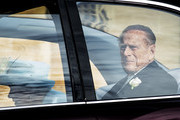 Prince Philip, Duke of Edinburgh attends the wedding of Princess Eugenie of York to Jack Brooksbank at St. George's Chapel on October 12, 2018 in Windsor, England. (Photo by