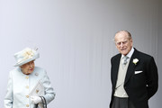 Queen Elizabeth II and Prince Philip, Duke of Edinburgh look on after the wedding of Princess Eugenie of York and Mr. Jack Brooksbank at St. George's Chapel on October 12, 2018 in Windsor, England.
