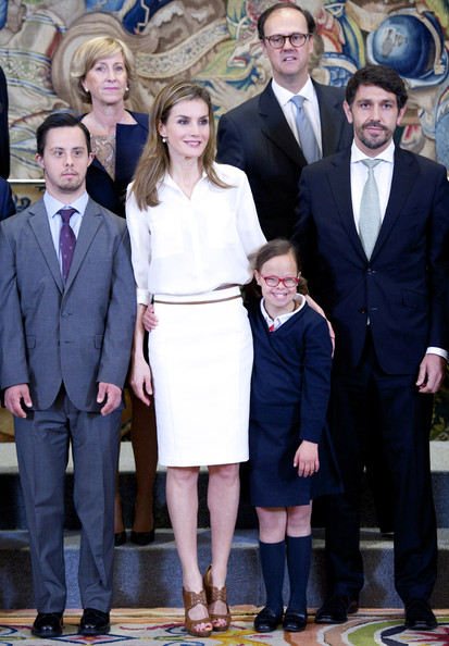 Princess Letizia of Spain receives representatives of the 'Fundacion Sindrome de Down' at Zarzuela Palace on April 9, 2014 in Madrid, Spain.
