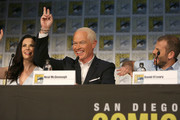 (L-R) Actors Laura Mennell, Neal McDonough, and executive producer David O'Leary attend the Project Blue Book panel at Comic-Con International on July 21, 2018 in San Diego, California.
