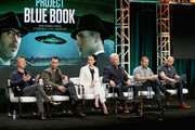 (L-R) Actors Aidan Gillen, Michael Malarkey, Laura Mennell and Neal McDonough, creator/writer/co-Executive Producer.David O'Leary and showrunner/writer/executive producer Sean Jablonski of  'Project Blue Book' speak onstage during The 2018 Summer Television Critics Association Press Tour on July 26, 2018 in Los Angeles, California.