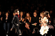 (L-R) Lifetime EVP Joann Alfano, Lifetime CEO Andrea Wong, singer Faith Hill, Fashion Director of Elle and Marie Claire Nina Garcia, designer Michael Kors, model Heidi Klum and Project Runway producer Desiree Gruber attend Project Runway Fall 2010 fashion show during Mercedes-Benz Fashion Week on February 12, 2010 in New York, New York.