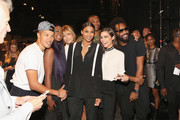 (L-R) Dao-Yi Chow,  Justine Skye, Hailey Baldwin, Ciara, Russell Westbrook, Olivia Culpo and Maxwell Osborne pose backstage after the Public School fashion show during Spring 2016 New York Fashion Week: The Shows at The Arc, Skylight at Moynihan Station on September 13, 2015 in New York City.