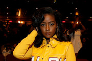 Justine Skye attends the Pyer Moss front row during New York Fashion Week: The Shows at Kings Theatre on September 08, 2019 in New York City.