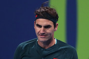 Roger Federer of Switzerland celebrates a point win in his match against Dan Evans of Great Britain on Day 3 of the Qatar ExxonMobil Open at Khalifa International Tennis and Squash Complex on March 10, 2021 in Doha, Qatar.