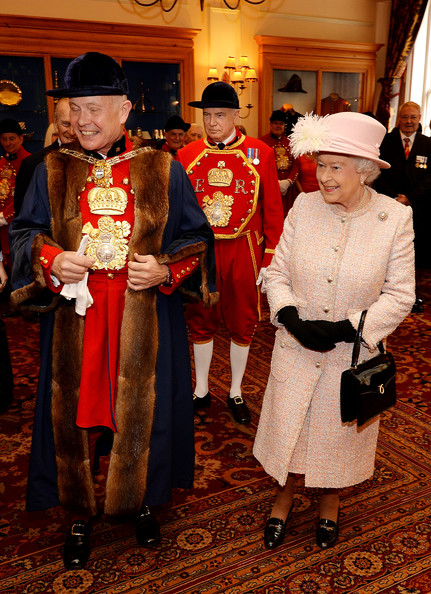 Queen Elizabeth II attends a reception at Waterman's Hall in the City of London, to celebrate the 800th anniversary of the Royal Watermen on March 27, 2014 in London, England.