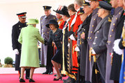 Queen Elizabeth II meets British Prime Minister Theresa May during a ceremonial welcome for Colombia's President Juan Manuel Santos and his wife Maria Clemencia de Santos at Horse Guards Parade on November 1, 2016 in London, England. The President is on a state visit to Britain.