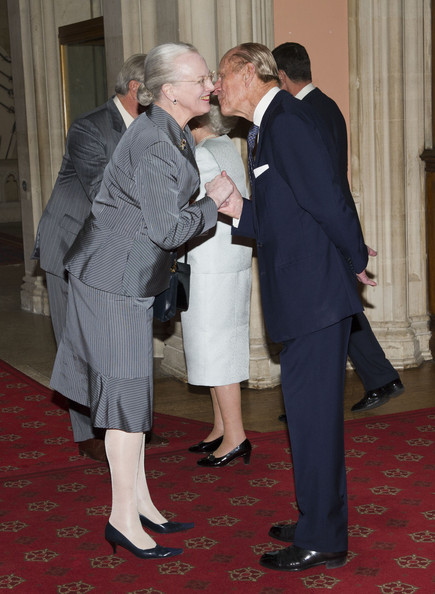 Queen Elizabeth II and Prince Philip, Duke of Edinburgh greet  Queen Margrethe of Denmark as she arrives at a lunch for Sovereign Monarch's held in honour of Queen Elizabeth II's Diamond Jubilee, at Windsor Castle, on May 18, 2012 in Windsor, England.