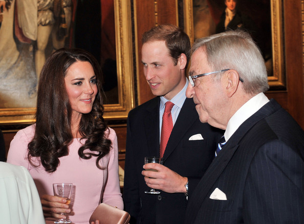 Catherine, Duchess of Cambridge and Prince William, Duke of Cambridge speak to King Constantine of Greece during a reception in the Waterloo Chamber, before the Lunch For Sovereign Monarchs at Windsor Castle, on May 18, 2012 in Windsor, England.
