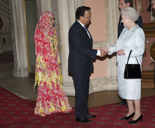 Queen Elizabeth II greets Hassanal Bolkiah, the Sultan of Brunei and wife, Raja Isteri Pengiran Anak Hajah Saleha as they arrive at a lunch for Sovereign Monarch's held in honour of Queen Elizabeth II's Diamond Jubilee, at Windsor Castle, on May 18, 2012 in Windsor, England.