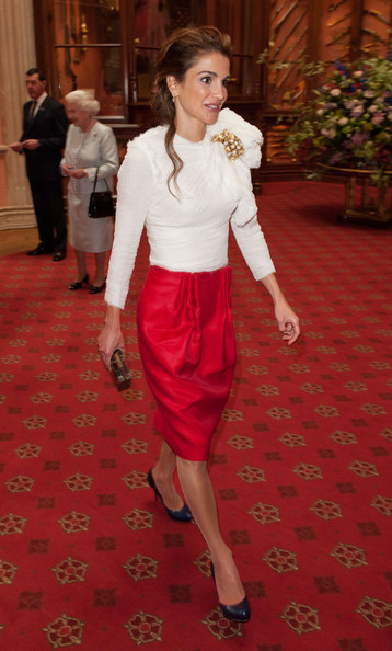 Queen Rania of Jordan arrives at a lunch For Sovereign Monarchs in honour of Queen Elizabeth II's Diamond Jubilee, at Windsor Castle, on May 18, 2012 in Windsor, England.