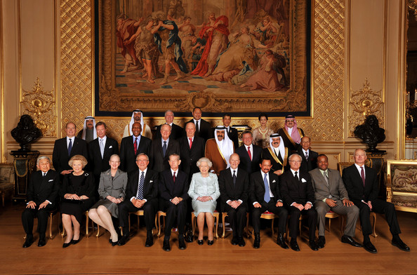 Queen Elizabeth II (C) poses for group photo with her Royal guests (front row L - R) Emperor Akihito of Japan, Queen Beatrix of The Netherlands, Queen Margrethe II of Denmark, King Constantine of Greece, King Michael of Romania, HM , Simeon Borisov of Saxe-Coburg and Gotha, Sultan of Brunei Hassanal Bolkiah, King Carl Gustaf XVI of Sweden, HM the King of Swaziland, and Prince Hans-Adam II of Liechtenstein, (middle row L - R) HSH Prince Albert II of Monaco, Grand Duke Henri of Luxembourg,  King Letsie III of Lesotho, King Albert of Belgium, King Harald V of Norway, Emir of the State of Qatar Sheikh Hamad Bin Khalifa Al-Thani, King Abdallah II of Jordan, King of Bahrain Hamad ibn Isa Al Khalifa, The Yang di-Pertuan Agong of Malaysia, (top row, L - R) Nasser Mohamed Al-Jaber Al-Sabah of Kuwait, Crown Prince of Abu Dhabi, HRH the Crown Prince Alexander II of Yugoslavia, King George Tupou V of Tong, Crown Prince Vajiralongkorn of Tahiland,  Princess Lalla Meryem of Morocco and HRH Prince Mohammed bin Nawaf bin Abdulaziz Al Saud of Saudi Arabia before her Sovereign Monarch's Jubilee lunch, in the Grand reception room at Windsor Castle on May 18, 2012 in Windsor, England.
