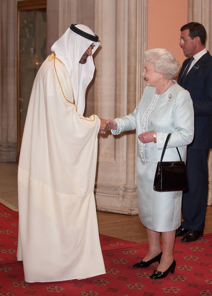 Crown Prince of Abu Dhabi Mohammed bin Zayed is greeted by Queen Elizabeth II at a lunch For Sovereign Monarchs in honour of Queen Elizabeth II's Diamond Jubilee, at Windsor Castle, on May 18, 2012 in Windsor, England.