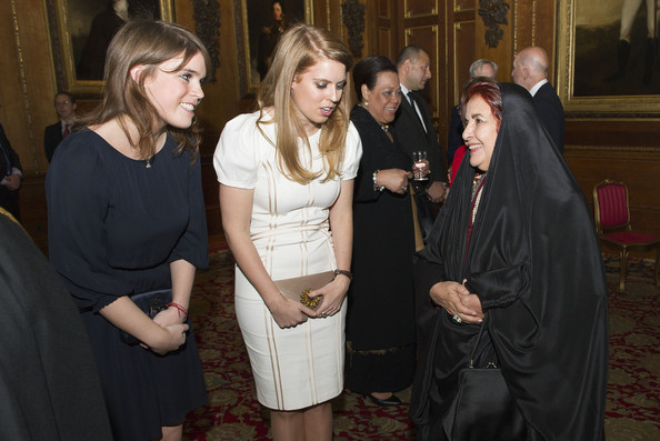 Princess Eugenie and Princess Beatrice speak with Princess Sabeeka of Bahrain during a reception in the Waterloo Chamber, before the Lunch For Sovereign Monarchs at Windsor Castle, on May 18, 2012 in Windsor, England.