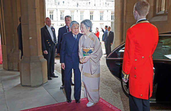 Emperor Akihito of Japan and Empress Michiko of Japan arrive at a lunch For Sovereign Monarchs in honour of Queen Elizabeth II's Diamond Jubilee, at Windsor Castle, on May 18, 2012 in Windsor, England.