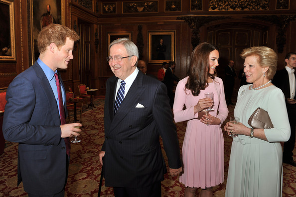 Prince Harry speaks to King Constantine of Greece during a reception in the Waterloo Chamber, before the Lunch For Sovereign Monarchs at Windsor Castle, on May 18, 2012 in Windsor, England.