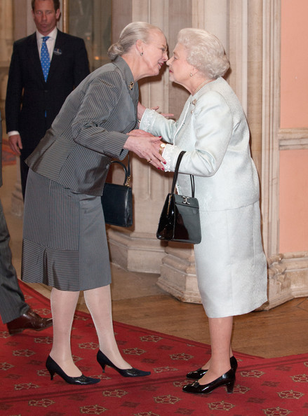 Queen Margarethe II of Denmark is greeted by Queen Elizabeth II at a lunch For Sovereign Monarchs in honour of Queen Elizabeth II's Diamond Jubilee, at Windsor Castle, on May 18, 2012 in Windsor, England.