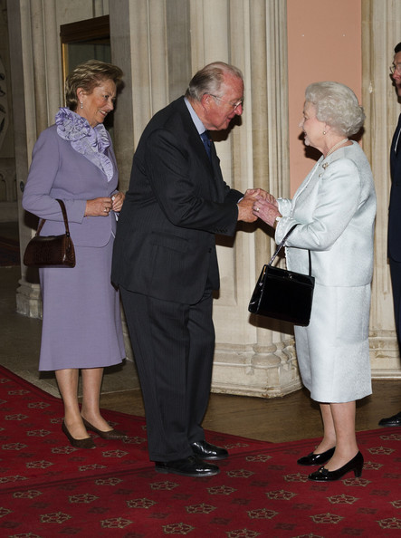Queen Elizabeth II and Prince Philip, Duke of Edinburgh greet king albert of belgium and Queen Paola of Belgium as they arrive at a lunch for Sovereign Monarch's held in honour of Queen Elizabeth II's Diamond Jubilee, at Windsor Castle, on May 18, 2012 in Windsor, England.