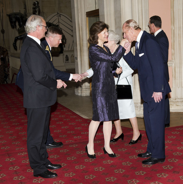 Queen Elizabeth II and Prince Philip, Duke of Edinburgh greet King Carl XVI Gustaf of Sweden and Queen Silvia of Sweden as they arrive at a lunch for Sovereign Monarch's held in honour of Queen Elizabeth II's Diamond Jubilee, at Windsor Castle, on May 18, 2012 in Windsor, England.