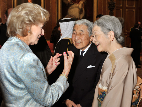 Princess Alexandra speaks to Emperor Akihito of Japan and Empress Michiko of Japan during a reception in the Waterloo Chamber, before her Sovereign Monarch's Jubilee lunch, at Windsor Castle, on May 18, 2012 in Windsor, England.