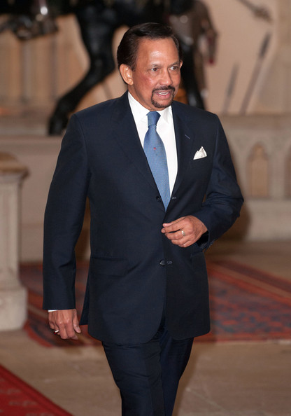 The Sultan of Brunei, Hassanal Bolkiah arrives at a lunch For Sovereign Monarchs in honour of Queen Elizabeth II's Diamond Jubilee, at Windsor Castle, on May 18, 2012 in Windsor, England.