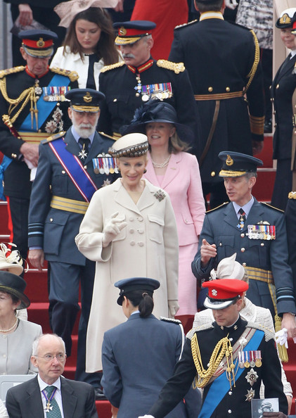 Prince Michael of Kent (centre L) and Princess Michael of Kent (front L) attend the Armed Forces Parade and Muster on May 19, 2012 in Windsor, England. Over 2500 troops took part in the Diamond Jubilee Muster in Home Park.